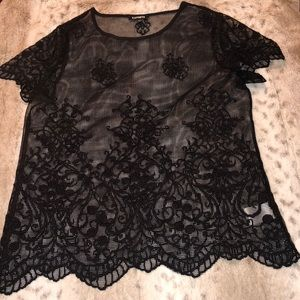NWOT-Embroidered Floral Mesh Top